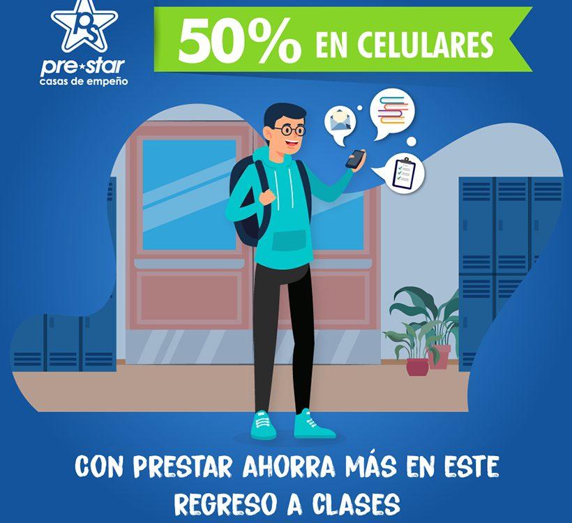 Ahorra en éste regreso a clases y obtén un 50% de descuento en celulares.
